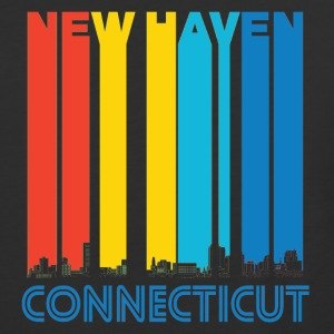 Retro New Haven Connecticut Skyline - Baseball T-Shirt