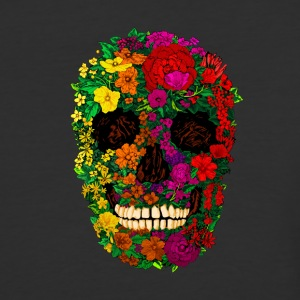 Rainbow Flowers Skull - Baseball T-Shirt