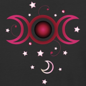 Triple moon with stars, pink. - Baseball T-Shirt
