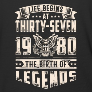 Life Begins at Thirty-Seven Legends 1980 for 2017 - Baseball T-Shirt