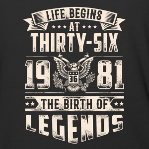 Life Begins at Thirty-Six Legends 1981 for 2017 - Baseball T-Shirt