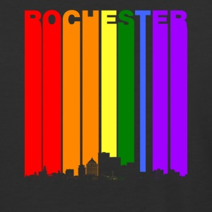 Rochester New York Skyline Rainbow LGBT Gay Pride - Baseball T-Shirt