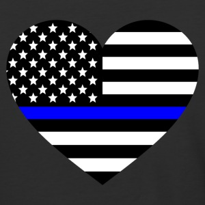 Thin blue line Heart Police Support - Baseball T-Shirt