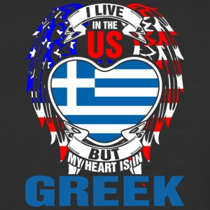 I Live In The Us But My Heart Is In Greek - Baseball T-Shirt