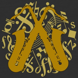 crossed saxophones on music notes - Baseball T-Shirt