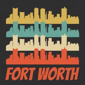 Retro Fort Worth TX Skyline Pop Art - Baseball T-Shirt