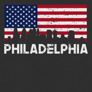 Philadelphia PA American Flag Skyline Distressed - Baseball T-Shirt