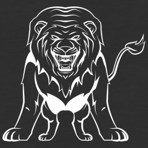 Direct_attacking_lion_white - Baseball T-Shirt
