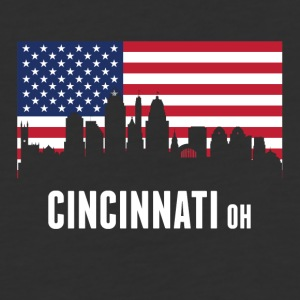 American Flag Cincinnati Skyline - Baseball T-Shirt