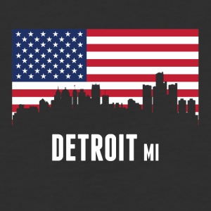 American Flag Detroit Skyline - Baseball T-Shirt