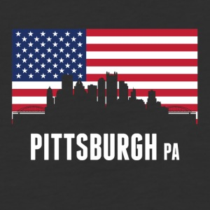 American Flag Pittsburgh Skyline - Baseball T-Shirt