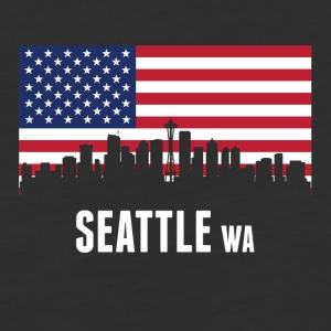 American Flag Seattle Skyline - Baseball T-Shirt