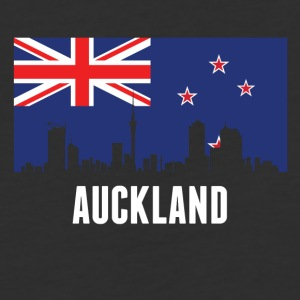 New Zealand Flag Auckland Skyline - Baseball T-Shirt