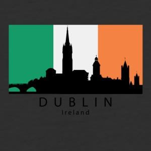 Dublin Ireland Skyline Irish Flag - Baseball T-Shirt