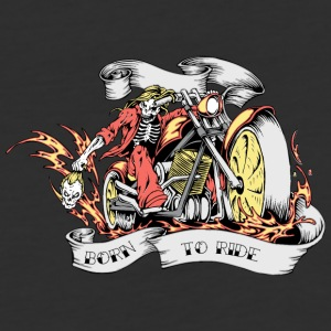 skull on motocycle with head on hand burn to ride - Baseball T-Shirt