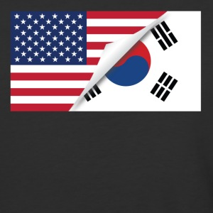 Half American Half South Korean Flag - Baseball T-Shirt