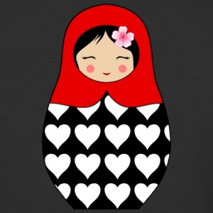 Red Matryoshka doll with hearts - Baseball T-Shirt