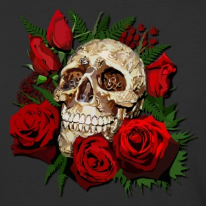 Sugar skull and Red Roses - Baseball T-Shirt