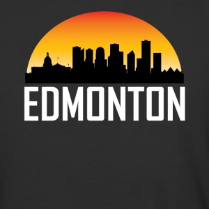 Sunset Skyline Silhouette of Edmonton AB - Baseball T-Shirt