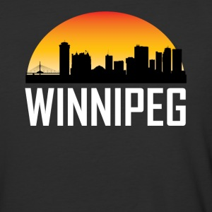 Sunset Skyline Silhouette of Winnipeg MB - Baseball T-Shirt