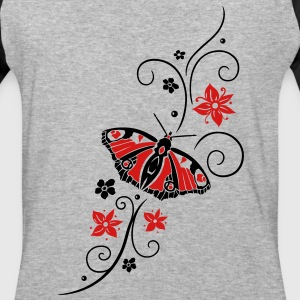 Big colorful butterfly with filigree tribal. - Baseball T-Shirt