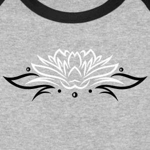 Large lotus flower with small tribal. - Baseball T-Shirt