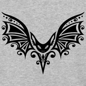 Flying Bat, Tribal and Tattoo Design - Baseball T-Shirt