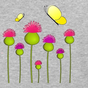 Flowers with Butterflies - Baseball T-Shirt
