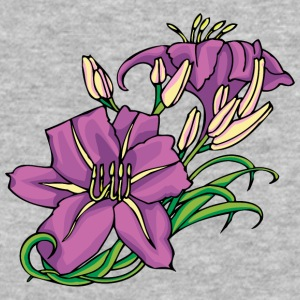 purple_flowers_and_green_leafes - Baseball T-Shirt