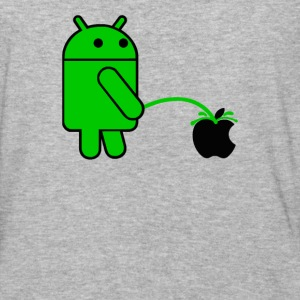 Android Robot Peeing on an Apple Mens Phone War - Baseball T-Shirt