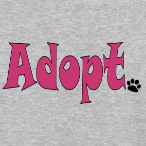 Pink Text Adopt with Black Dog Paw - Baseball T-Shirt