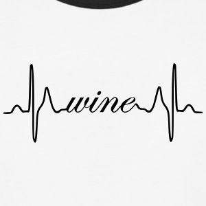 Wine ECG heartbeat - Baseball T-Shirt