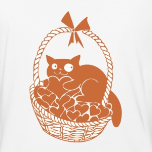 Valentine Cat in Basket of Hearts - Baseball T-Shirt