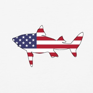American Flag - Shark - Baseball T-Shirt