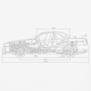 Skyline GT-R R34 Blueprint - Baseball T-Shirt