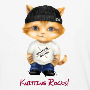 Knitting Rocks! Thaddeus Tad Stitch Kitten - Baseball T-Shirt