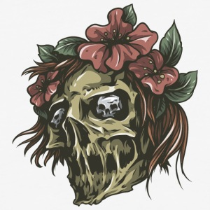 skull_with_flowers_in_hairs - Baseball T-Shirt
