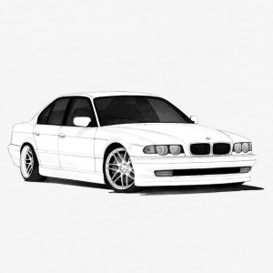 BMW e38 - Baseball T-Shirt