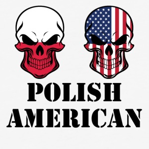 Polish American Flag Skulls - Baseball T-Shirt