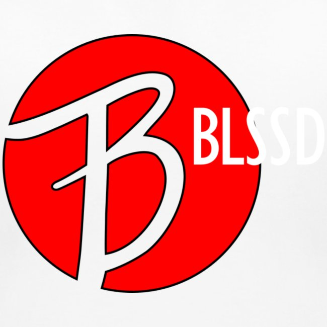 RED BLSSD CIRCLE WITH WHITE WRITING