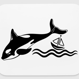 Big Whale and a small boat on the sea - Mouse pad Horizontal