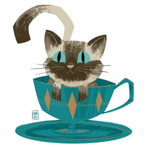 Cat in a Teacup by Kim B.