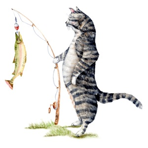 Cat with Fish by Goosi
