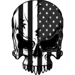 American Flag Skeleton Grey And White