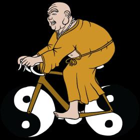 buddha riding bike with yin yang wheels