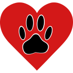 Dog Paw In Red Heart