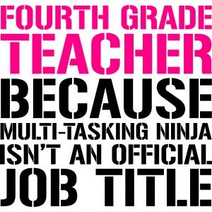 Fourth Grade Ninja Teacher Funny Teacher T-Shirt