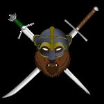 Skall logo with swords