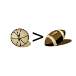Basketball greater than Football (Sepia)