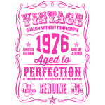 Vintage 1976 Aged to Perfection Pink Print